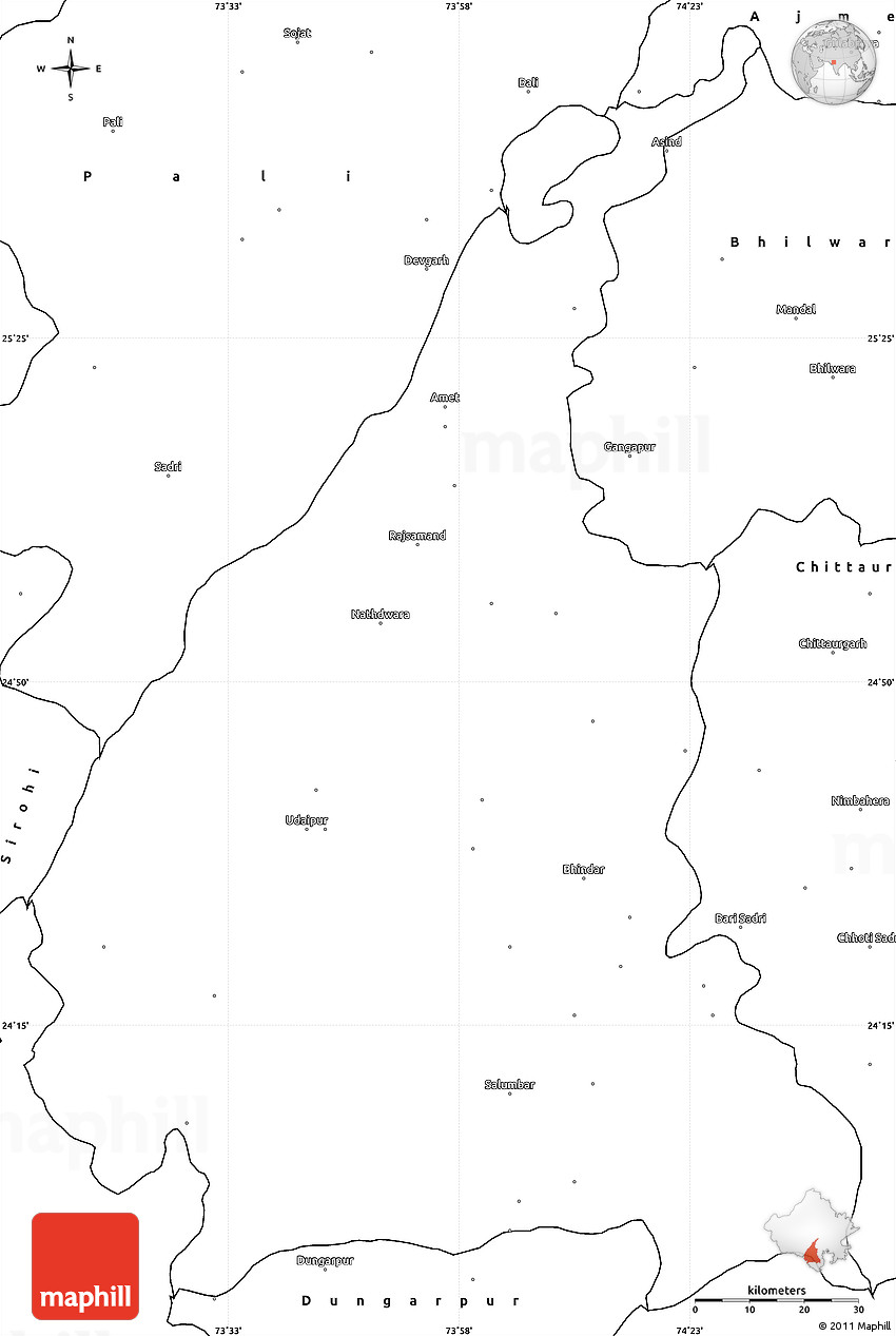blank simple map of udaipur