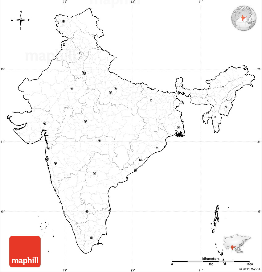 Political Outline Map Of France.Blank Political Map Of India