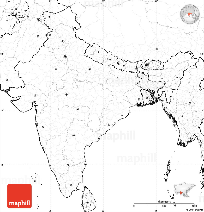 Blank Simple Map Of India No Labels