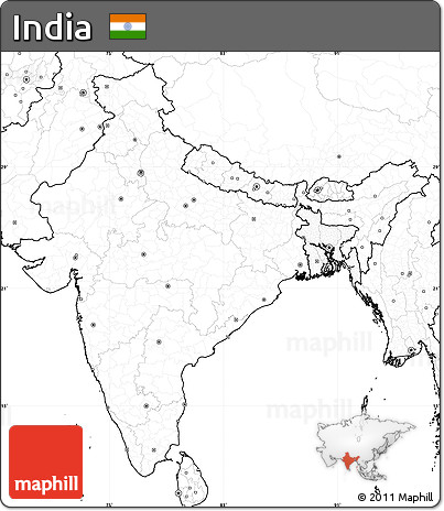 Free Blank Simple Map of India, no labels