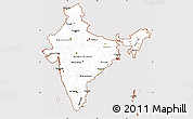 Classic Style Simple Map of India, cropped outside