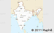 Classic Style Simple Map of India, single color outside