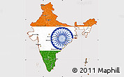 Flag Simple Map of India, flag centered