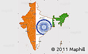 Flag Simple Map of India, flag aligned to the middle