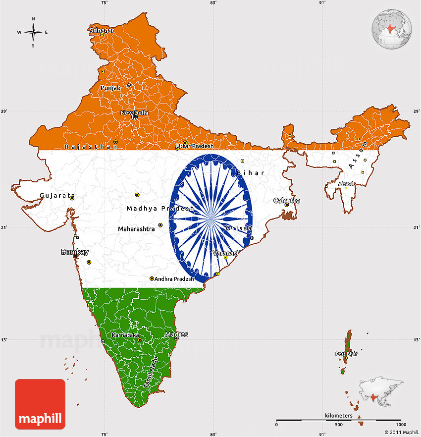 India Map Flag.Flag Simple Map Of India