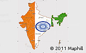 Flag Simple Map of India, flag rotated