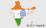 Flag Simple Map of India