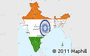 Flag Simple Map of India, single color outside