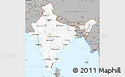 Gray Simple Map of India