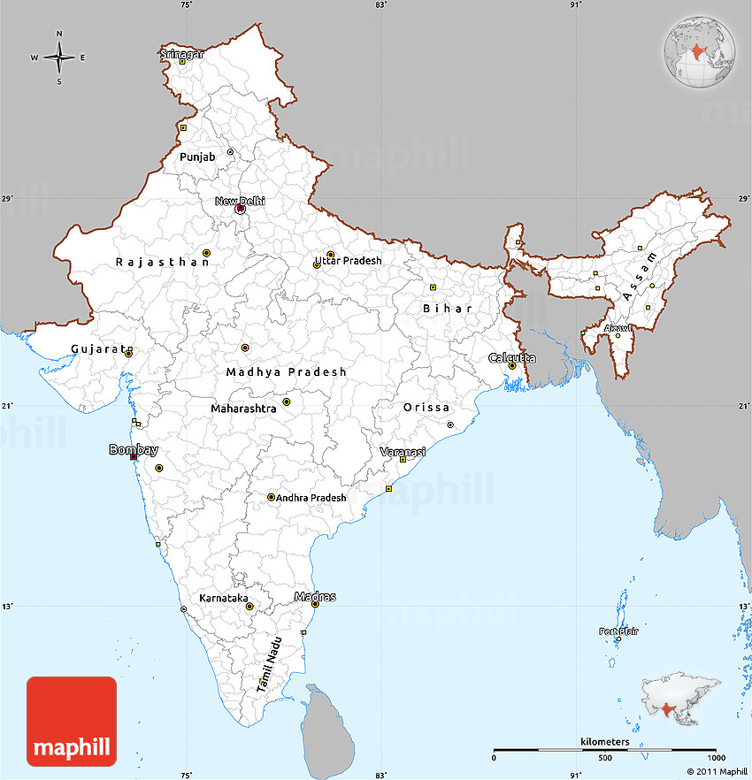 Gray Simple Map of India, single color outside on political map kerala, atlas of india, geography of india, political map government, political world map, map showing india, major rivers of india, north india, varanasi india, northern region of india, nashik india, maps of only india, maps for india, world map india, jharkhand india, provinces of india, leader of india, states of india, bangalore india, where's india,