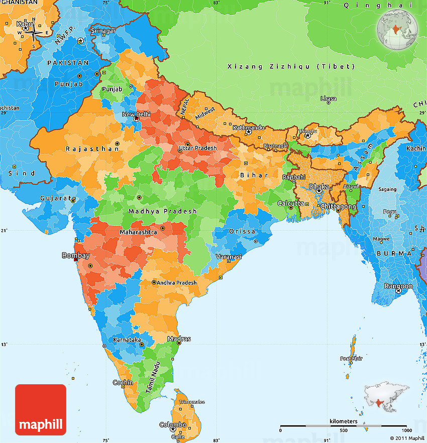 Political Simple Map of India, political shades outside
