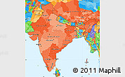 Political Shades Simple Map of India, political outside
