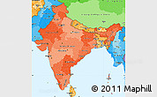 Political Shades Simple Map of India