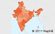 Political Shades Simple Map of India, single color outside
