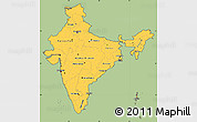 Savanna Style Simple Map of India, cropped outside