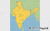 Savanna Style Simple Map of India, single color outside