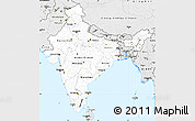Silver Style Simple Map of India