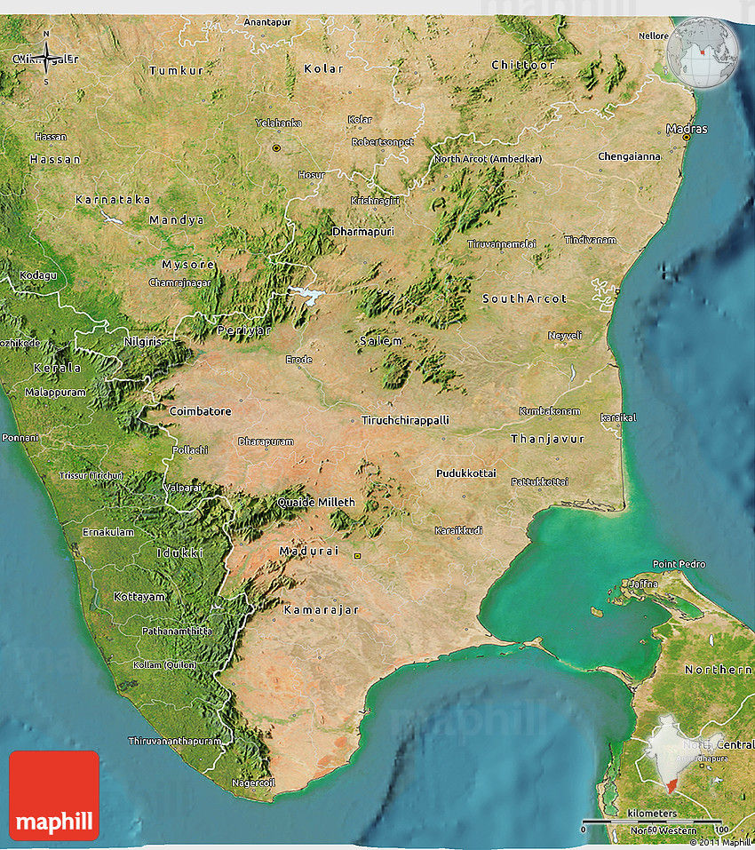 Setelight Map Of India.Satellite 3d Map Of Tamil Nadu