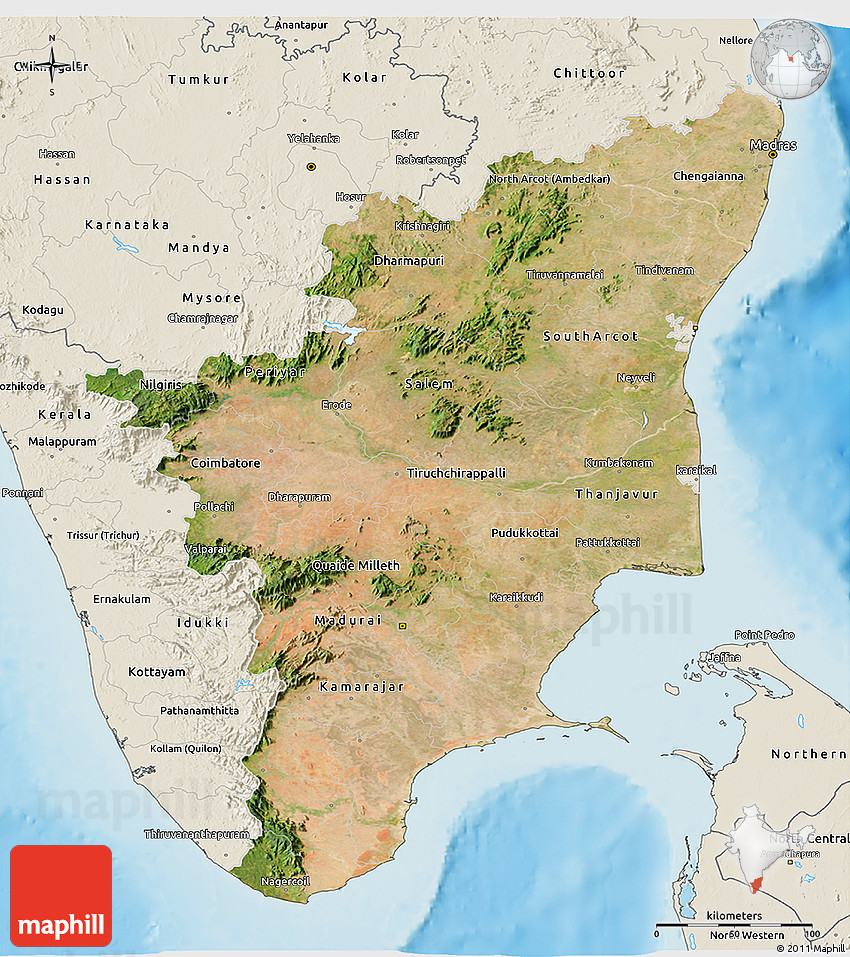 Satellite D Map Of Tamil Nadu Shaded Relief Outside - Live map india satellite