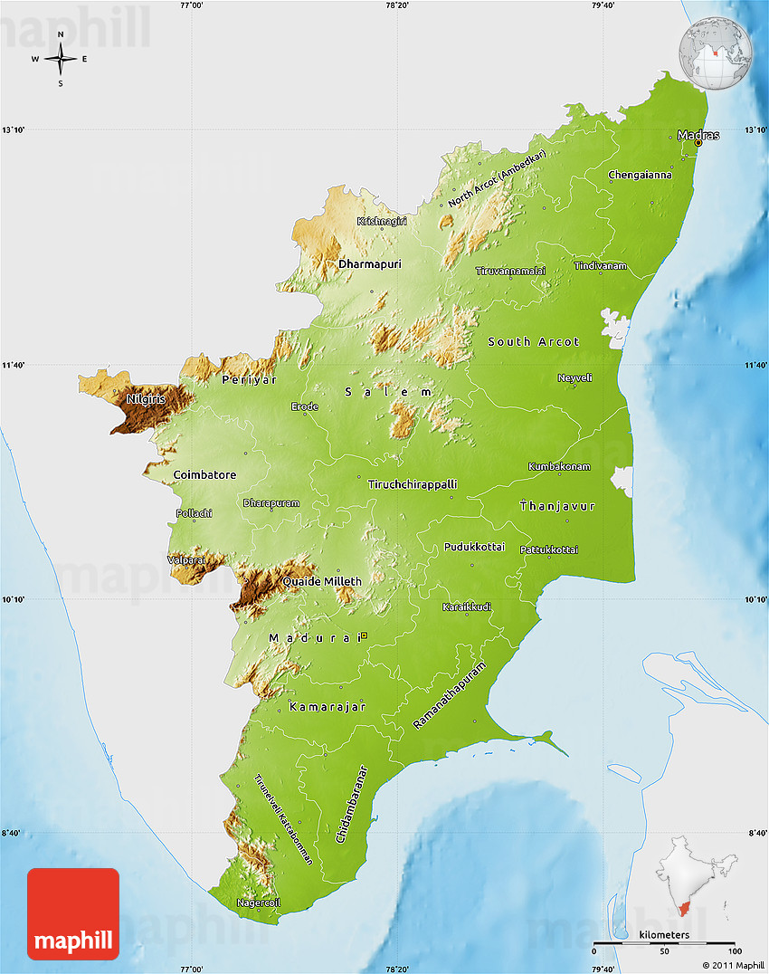 Physical Map Of Tamil Nadu Single Color Outside