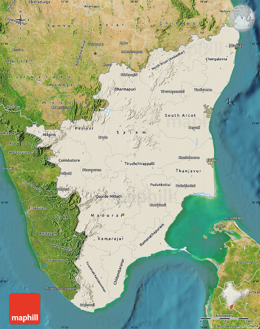 Shaded Relief Map Of Tamil Nadu Satellite Outside - Live map india satellite