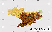 Physical Map of Nilgiris, cropped outside