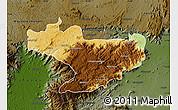 Physical Map of Nilgiris, darken