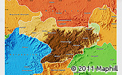 Physical Map of Nilgiris, political outside