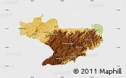 Physical Map of Nilgiris, single color outside