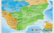 Political Shades Panoramic Map of Tamil Nadu