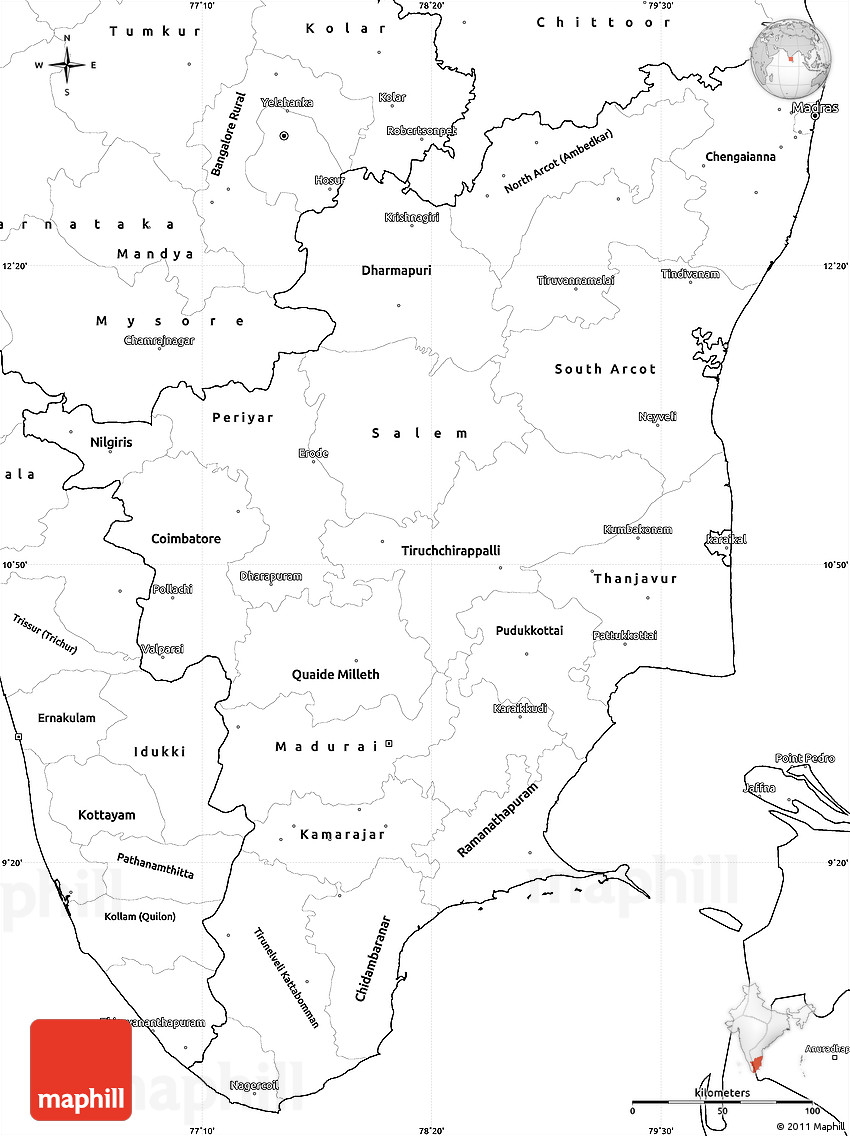 Blank simple map of tamil nadu 2d gumiabroncs Choice Image