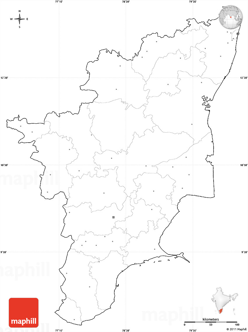 Blank Simple Map Of Tamil Nadu Cropped Outside No Labels - Tamilnadu map