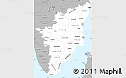 Gray Simple Map of Tamil Nadu