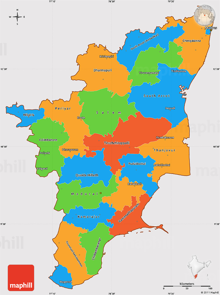 Tamil Nadu India  City pictures : Political Map of Tamil Nadu India Political Simple Map of Tamil