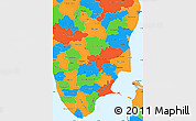 Political Simple Map of Tamil Nadu