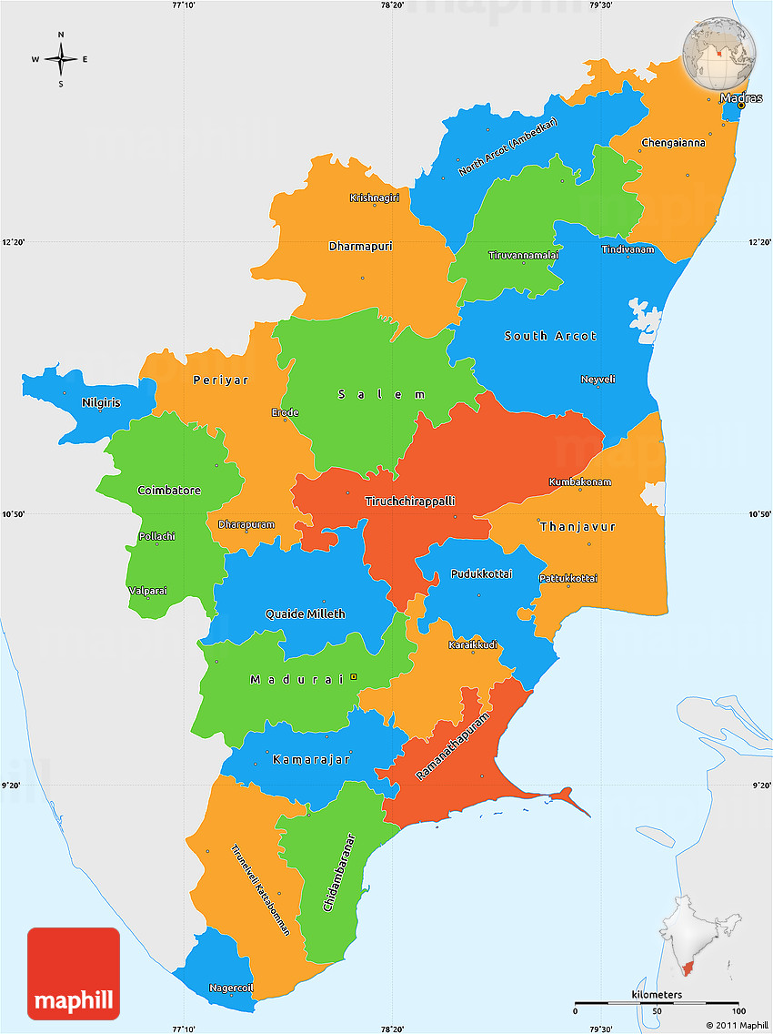 Political simple map of tamil nadu single color outside 2d gumiabroncs Choice Image
