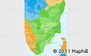 Political Shades Simple Map of Tamil Nadu
