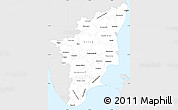Silver Style Simple Map of Tamil Nadu, single color outside