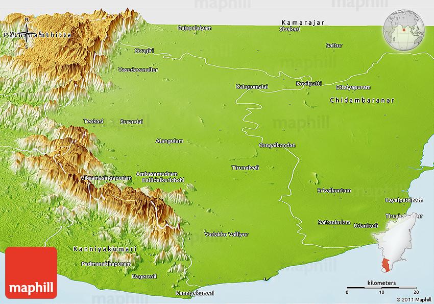 Tirunelveli India  city images : Physical Panoramic Map of Tirunelveli Kattabomman