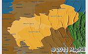 Political Shades Panoramic Map of Tripura, darken