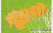 Political Shades Panoramic Map of Tripura, physical outside