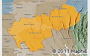 Political Shades Panoramic Map of Tripura, semi-desaturated
