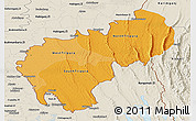 Political Shades Panoramic Map of Tripura, shaded relief outside