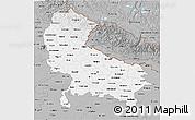 Gray 3D Map of Uttar Pradesh