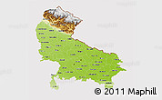 Physical 3D Map of Uttar Pradesh, cropped outside