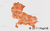 Political Shades 3D Map of Uttar Pradesh, cropped outside