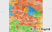 Political Shades 3D Map of Uttar Pradesh