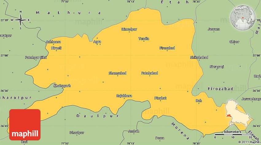 Savanna Style Simple Map of Agra