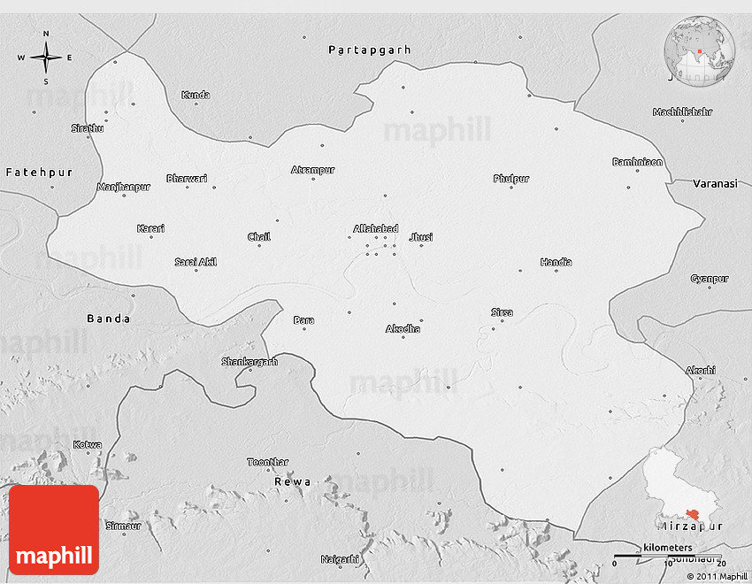 Silver Style D Map Of Allahabad - Allahabad map