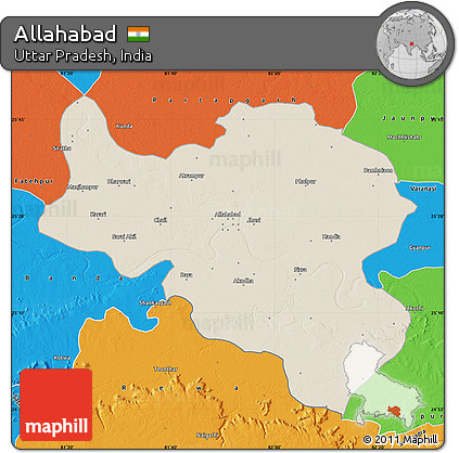 Free Shaded Relief Map of Allahabad political outside